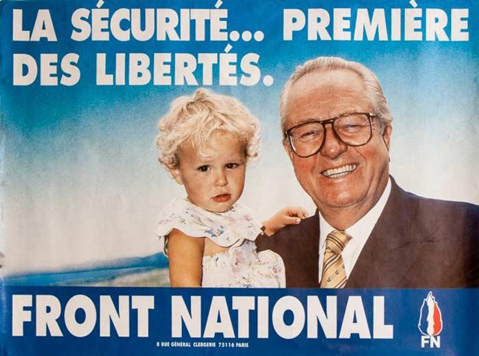 Марин Ле Пен в детстве с отцом