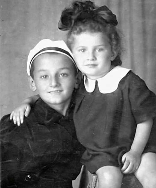 Семен Фарада в детстве с сестрой