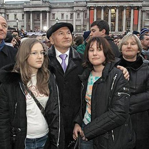 Юрий Лужков с женой и дочерьми