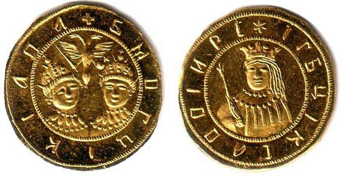 Монета с изображением Иван V и Петра I