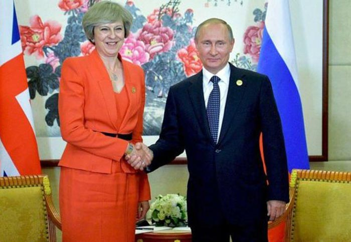 Тереза Мэй и Владимир Путин