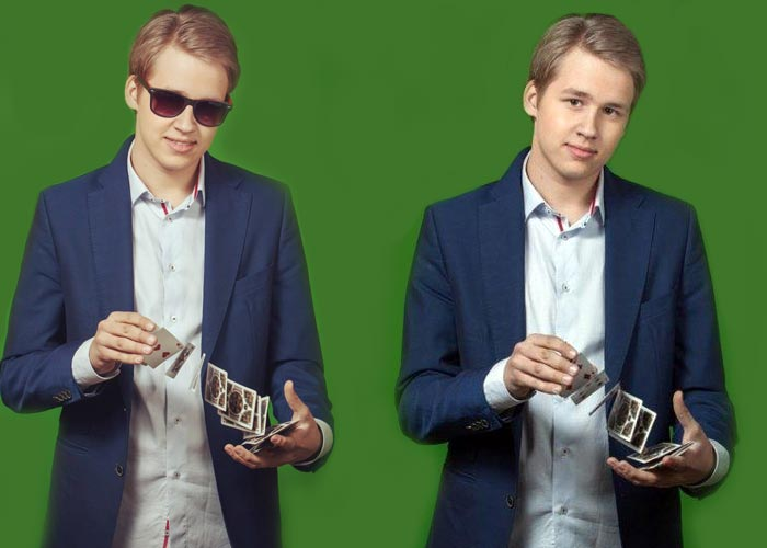 Александр Самойленко младший показывает карточные фокусы