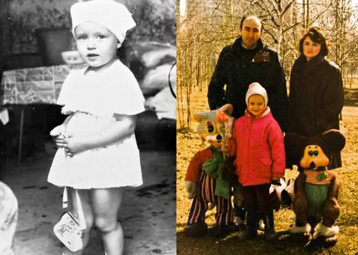Ксения Сухинова в детстве с родителями