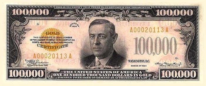 Вудро Вильсон на купюре 100 тысяч долларов