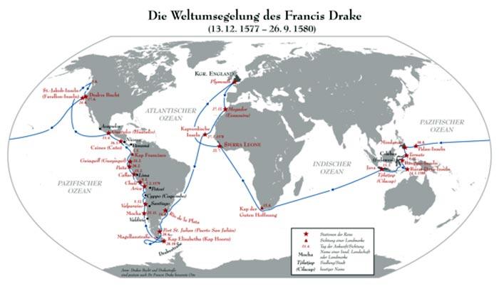 Карта кругосветное плавание Фрэнсиса Дрейка