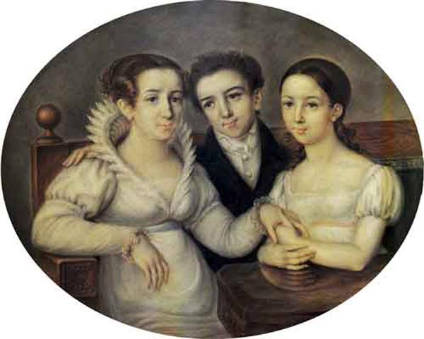 Михаил Глинка в детстве с мамой и сестрой