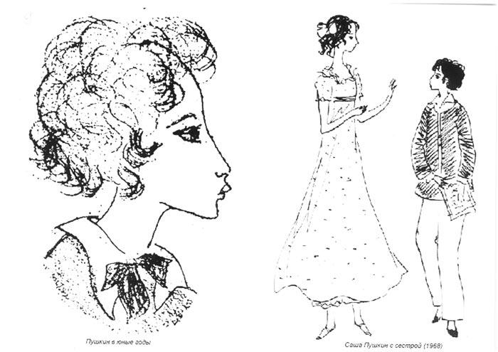 Рисунок Нади Рушевой Пушкин в юности