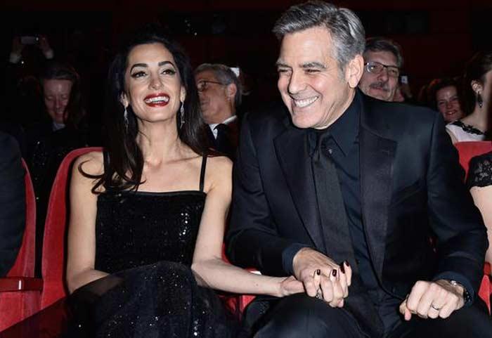 Амаль Клуни в чёрном платье