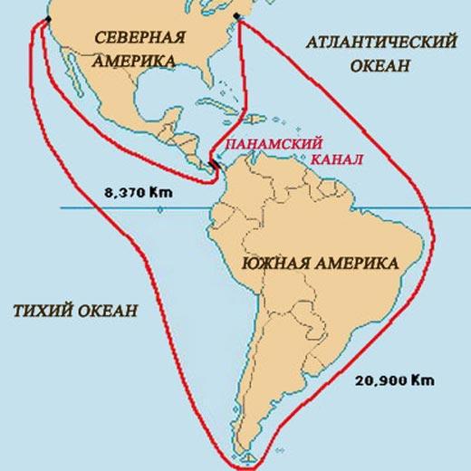 Панамский канал карта
