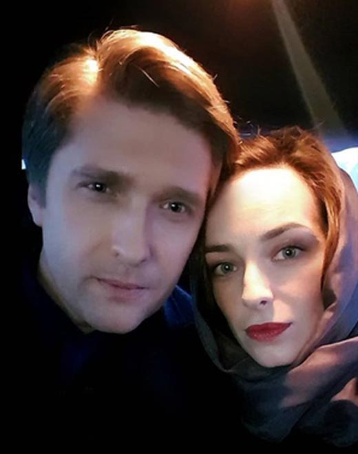 Анна Попова и Дмитрий Пчела на съемках сериала Стань моей тенью